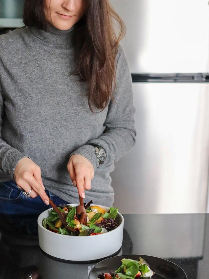 Hand-Carved, Hand-Shaped Wooden Salad Serving Set